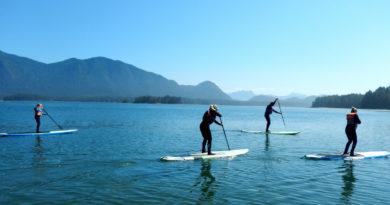 Paddleboarding na jezeře
