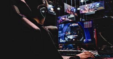 Kluk hraje na herním počítači