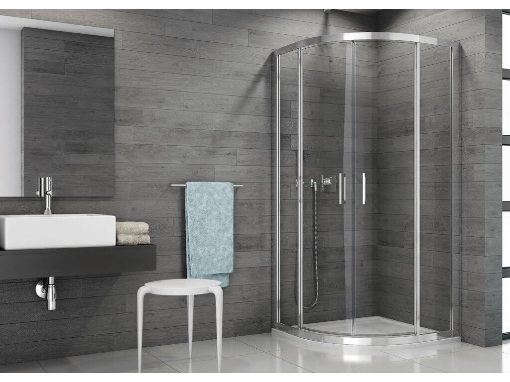 Čtvrtkruhový sprchový kout s dvoukřídlými dveřmi