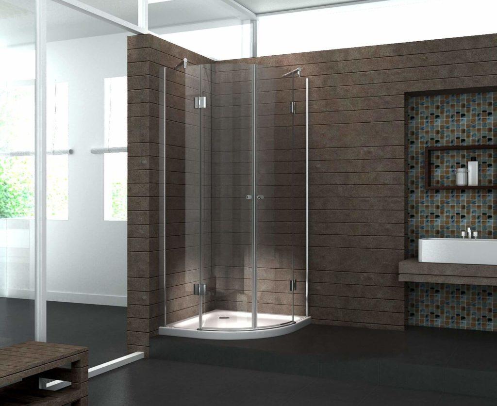 Čtvrtkruhový sprchový kout v hnědé koupelně